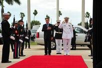 Brazilian President Jair Bolsonaro arrives at U.S. Southern Command headquarters.