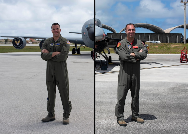Lt. Col. Julio Rodriguez (right) and his brother Lt. Col. Antonio Rodriguez (left) pose in front of their respective aircraft February 27, 2020 at Andersen Air Force Base, Guam.