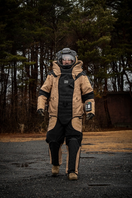U.S. Air Force Staff Sgt. Tanner Connally, a 35th Civil Engineer Squadron Explosive Ordnance Disposal journeyman, walks to the training site in a bomb suit at Misawa Air Base, Japan, March 3, 2020. The bomb suit contains plates that protect personnel from any shrapnel if an improvised explosive device detonates. (U.S. Air Force photo by Airman 1st Class China M. Shock)