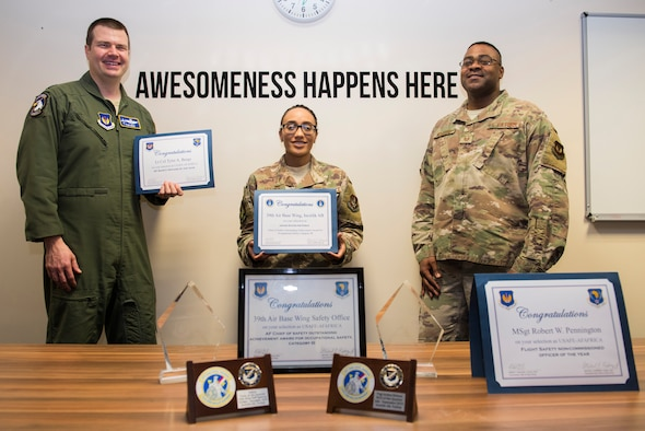 39th Air Base Wing Safety office staff presents their many Air Force level awards, March 4, 2020, at Incirlik Air Base, Turkey. These awards recognize their achievements in occupational safety. (U.S. Air Force photo by Senior Airman Matthew Angulo)