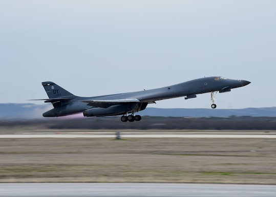 A B-1B Lancer aircraft takes off from the flightline at Dyess Air Force Base, Texas, Mar. 2, 2020.