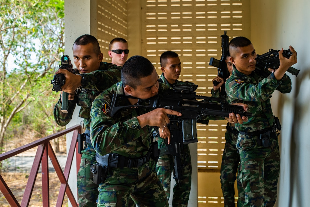 Royal Thai Marines demonstrate close quarters tactics during a CQT exchange in Hat Yao, Kingdom of Thailand, March 3.