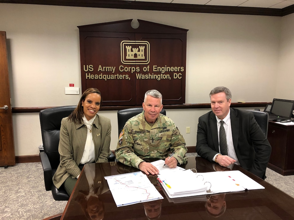 "Lt. Gen. Todd T. Semonite, USACE Commanding General and the 54th U.S. Army Chief of Engineers, signed the Chief's Report for the ""Delaware Beneficial Use of Dredged Material for the Delaware River Feasibility Study in March 2020. Ms. Stacey Brown, Chief of Planning and Policy Division, USACE Headquarters, and Mr. Wesley Coleman, Chief of Office of Water Project Review, USACE Headquarters participated in the official signing ceremony. 