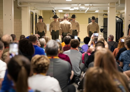 Educators and community influencers with Recruiting Stations Cleveland and Richmond observe a drill instructor introduction during the Educator Workshop on Marine Corps Recruit Depot (MCRD) Parris Island, S.C., Jan. 15, 2020. Participants with Recruiting Stations Cleveland and Richmond visited MCRD Parris Island for a four-day period to observe recruit training and gain a better understanding of how recruits are transformed into Marines. (U.S. Marine Corps photo by Cpl. Cody J. Ohira)