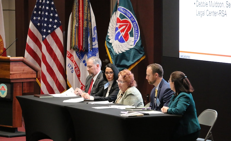Members from U.S. Army Contracting Command - Redstone and other agencies discuss source selection during Team Redstone's APBI. Panel members (left to right) David Zecher, Ginger Rosacia, Kathleen Miller, Barry Byrd, Debbie Muldoon.