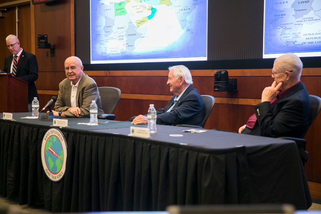 Gene Deegan, retired U.S. Marine Corps Maj. Gen., first from the left, speaks during a professional military education session for the members of U.S. Central Command during the 40th anniversary of the Rapid Deployment Joint Task Force on MacDill Air Force Base, March 2, 2020. (U.S. Marine Corps photo by Sgt. Roderick Jacquote)