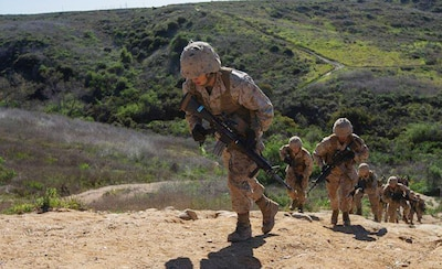 Recruits with India Company, 3rd Recruit Training Battalion, participate in a crucible event at Marine Corps Base Camp Pendleton, Calif., Feb. 26, 2020. Throughout the Crucible recruits had to work together and pull their own weight in order to succeed and earn the title of Marine. (U.S. Marine Corps photo by Lance Cpl. Grace J. Kindred)