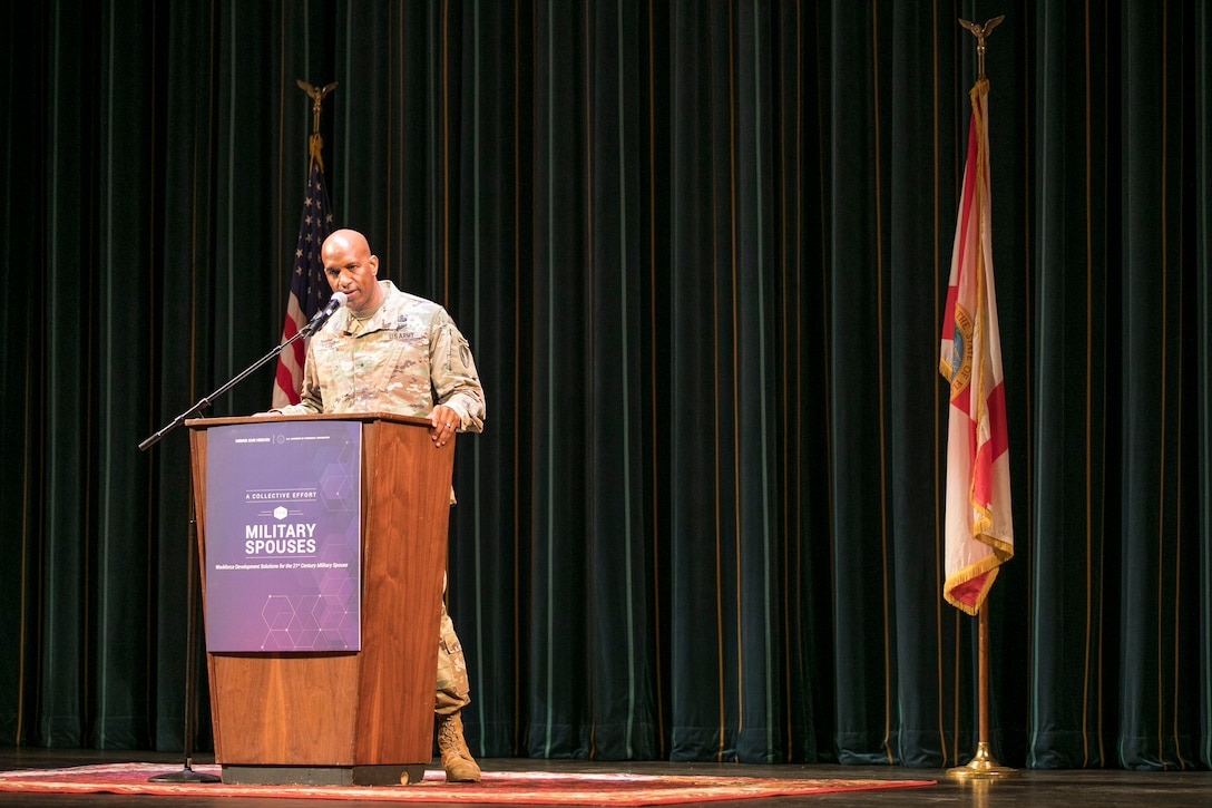 U.S. Army Brig. Gen. Jeth Rey, the director of command and control, communications and computer systems, U.S. Central Command, tells his story as an active duty service member and military spouse during the Military Spouses A Joint Initiative event hosted by Mrs. Karen Pence, Second Lady of the United States, at the Tampa Bay Theater, March 4, 2020. Pence and leaders from the U.S. Chamber of Commerce discussed nationwide efforts to create workforce development solutions for military spouses. (U.S. Marine Corps photo by Sgt. Roderick Jacquote)