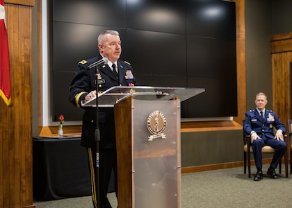 Brig. Gen. Michael Glisson of Festus, Missouri, Director of the Joint Staff, Illinois National Guard, speaks to the audience during his retirement ceremony March 7, at the Illinois Military Academy in Springfield, Illinois.
