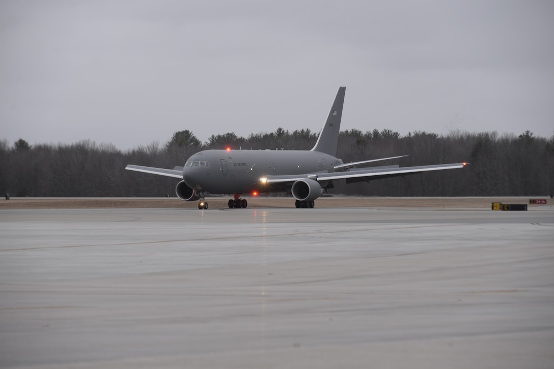KC-46A Pegasus taxis on the Pease Air National Guard Base runway.