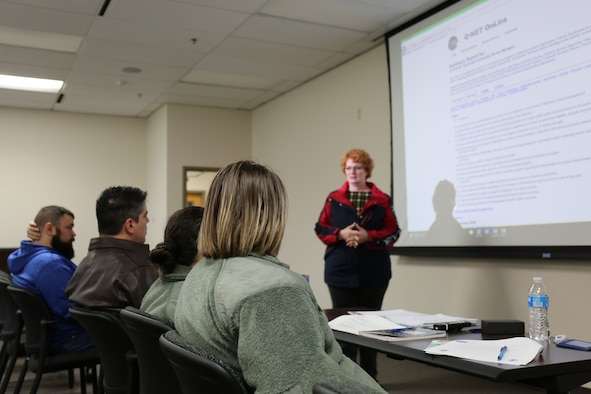 Jill Marconi-Pyclik, the 446th Airman and Family Readiness director, teaches Reservists resume writing skills on Joint Base Lewis-McChord, Washington, March 8, 2020.