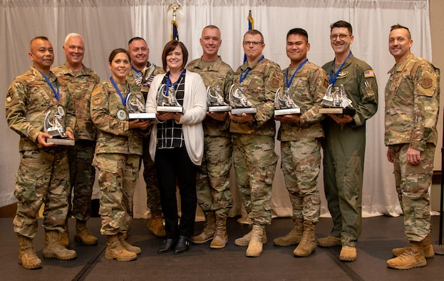 349th Air Mobility Wing annual award nominees and winners were honored during a ceremony March 7, 2020, at Travis Air Force Base, Calif. (U.S. Air Force photo by Senior Master Sgt. Rachel Martinez)