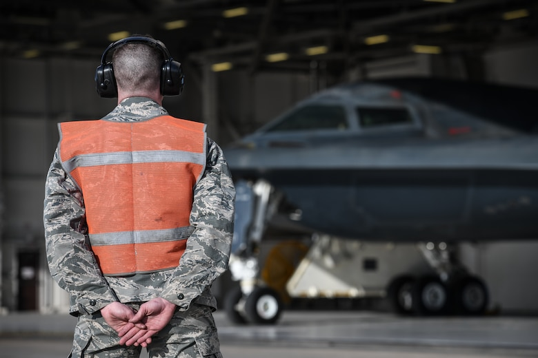 U.S. Air National Guard Staff Sgt. Larry Brown, a B-2 crew chief assigned to the 131st Aircraft Maintenance Squadron, readies a B-2 Spirit for flight at Whiteman Air Force Base, Missouri, March 8, 2020. The B-2 took off from Whiteman AFB to support U.S. Strategic Command Bomber Task Force operations in Europe. The 131st Bomb Wing is the total-force partner unit to the 509th Bomb Wing. (U.S. Air Force photo by Tech. Sgt. Alexander W. Riedel)