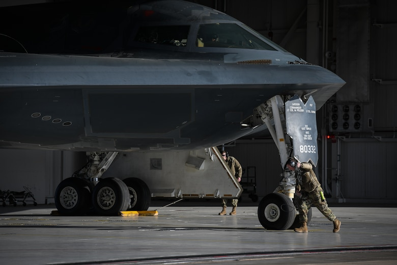 U.S. Air National Guard Tech. Sgt. Justin Aeckerle, a B-2 crew chief assigned to the 131st Maintenance Squadron performs final steps of a B-2 Spirit pre-flight check at Whiteman Air Force Base, Missouri, March 8, 2020. The B-2 took off from Whiteman AFB to support U.S. Strategic Command Bomber Task Force operations in Europe. The 131s Bomb Wing's 131st MXS is a total-force partner unit to the 509th Bomb Wing. (U.S. Air Force photo by Tech. Sgt. Alexander W. Riedel)