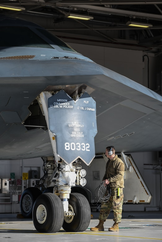 U.S. Air National Guard Tech. Sgt. Justin Aeckerle, a B-2 crew chief assigned to the 131st Maintenance Squadron, readies a B-2 Spirit for flight at Whiteman Air Force Base, Missouri, March 8, 2020. The B-2 took off from Whiteman AFB to support U.S. Strategic Command Bomber Task Force operations in Europe. The 131s Bomb Wing's 131st MXS is the total-force partner unit to the 509th Bomb Wing. (U.S. Air Force photo by Tech. Sgt. Alexander W. Riedel)