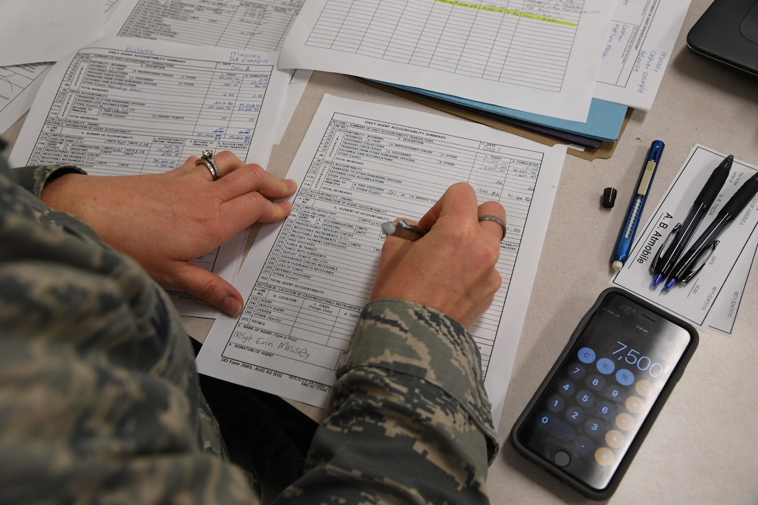 U.S. Air Force Master Sgt. Erin Massey, 335th Training Squadron student, completes class work for the finance management course inside Allee Hall at Keesler Air Force Base, Mississippi, Feb. 3, 2020. This course, which graduated 220 students this past year, takes nine academic days to complete. Approximately 7,400 students go through the 335th TRSs 13 Air Force Specialty Codes each year. (U.S. Air Force photo by Kemberly Groue)