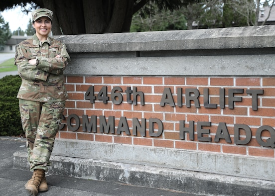 U.S. Air Force Staff Sgt. Crystal Y. Lothrop, 446th Force Support Squadron education and training technician, poses outside the 446th Airlift Wing headquarters building on Joint Base Lewis-McChord, Washington, Feb. 25, 2020.