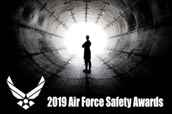 2019 Air Force Safety Awards graphic depicted by silhouette in the middle of a wind tunnel.