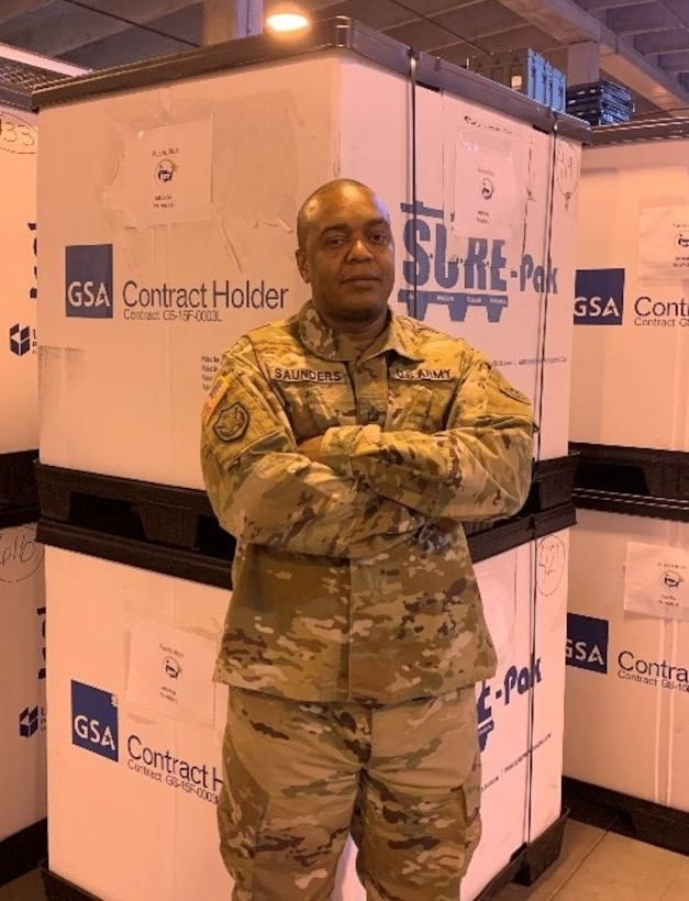 """""""This program is amazing and it feels good to do my part knowing that key medical services are being provided to underserved communities throughout the United States and its territories. There are co-workers and there is family, I've had the privilege of working with both here at the IRT Medical Consumables Site,"""" said Staff Sgt. Coddington Saunders."""