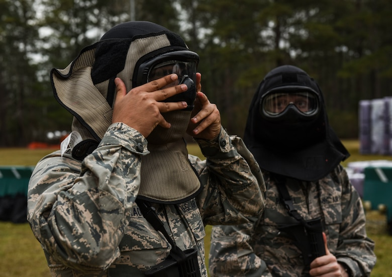 Cadets from the Citadel don protective gear prior to a live-fire exercise at the Naval Weapons Station Charleston, Joint Base Charleston, S.C., March 3, 2020.