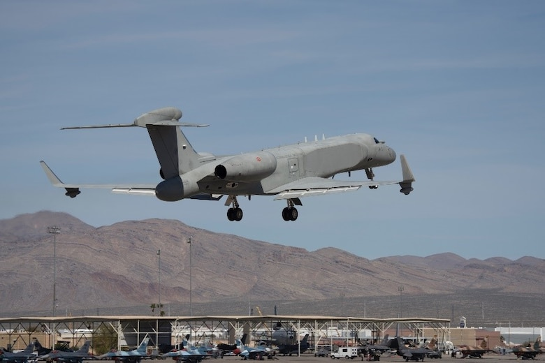 An aircraft takes off.