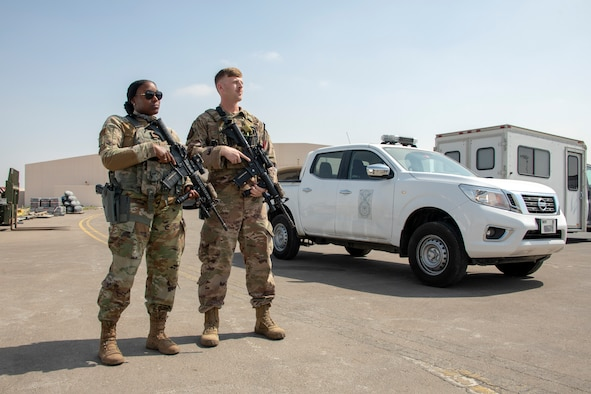 SFS members stand guard on the Al Dhafra flightline