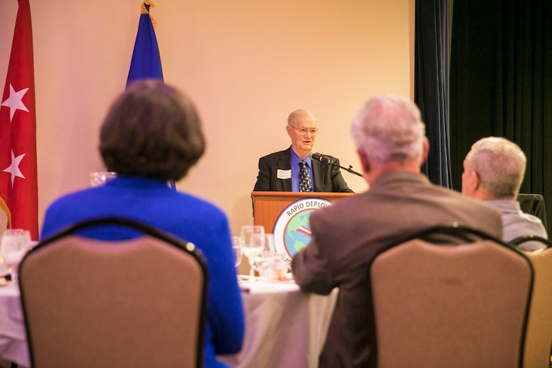 Michael Carns, retired U.S. Air Force Gen., speaks to former members of the Rapid Deployment Joint Task Force (RDJTF) during the RDJTF 40th Anniversary on MacDill Air Force Base, March 3, 2020. (U.S. Marine Corps photo by Sgt. Roderick Jacquote)
