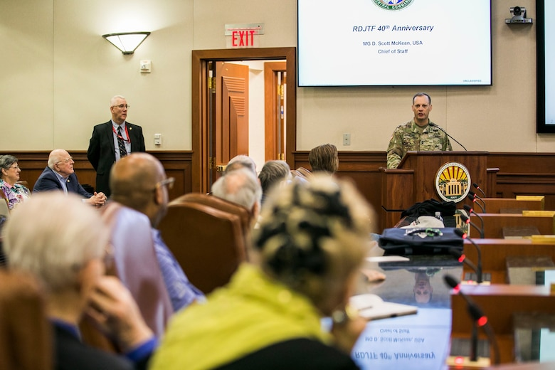 U.S. Army Maj. Gen. D. Scott McKean, the chief of staff of U.S. Central Command, speaks to former members of the Rapid Deployment Joint Task Force (RDJTF) during the 40th anniversary of the RDJTF on MacDill Air Force Base, March 3, 2020. (U.S. Marine Corps photo by Sgt. Roderick Jacquote)