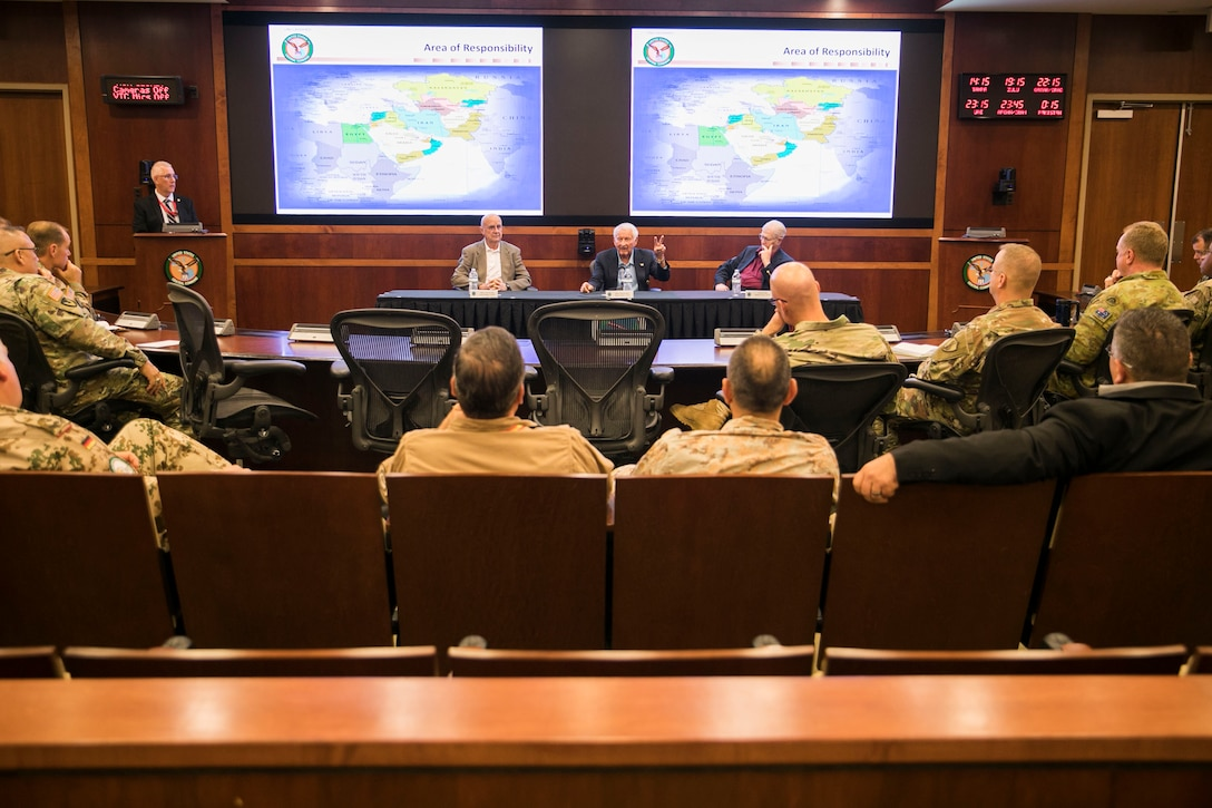 Former senior leadership of the Rapid Deployment Joint Task Force (RDJTF) gives a professional military education session for the members of U.S. Central Command during the 40th anniversary of the RDJTF on MacDill Air Force Base, March 2, 2020. (U.S. Marine Corps photo by Sgt. Roderick Jacquote)