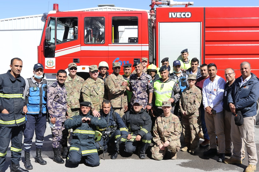 The Civil Defence Department and U.S. Army Soldiers of Joint Training Center-Jordan (JTC-J) celebrate the success of their emergency response training event Wednesday. The CDD and JTC-J partnered on the event with coordination from the Jordan Armed Forces. U.S. Soldiers are in Jordan to conduct partnership training with the JAF and other Jordanian partners. The U.S. has a long-standing partnership with Jordan in regards to joint training that has endured over multiple administrations.