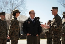 The Honorable Mr. Thomas B. Modly, Secretary of the Navy (Acting), visited Parris Island, S.C. March 6, 2020. Modly visited Parris Island to enhance his understanding of the environment and facilities aboard the depot as an installation in addition to viewing how the U.S. Marine Corps conducts entry-level training.    (U.S. Marine Corps photo by Sgt. Dana Beesley)