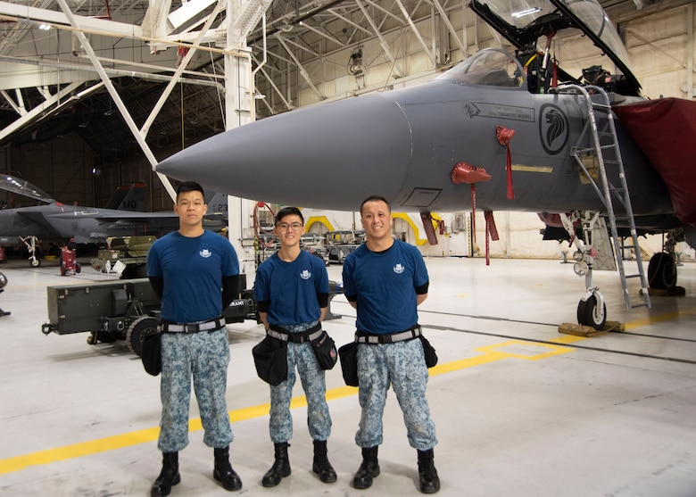 Republic of Singapore air force load crew members from the 428th Fighter Squadron pose in front of the F-15SG Strike Eagle after participating in the Annual Load Crew Competition, Feb. 25, 2020, at Mountain Home Air Force Base, Idaho. The winner of the Annual Load Crew Competition is announced at the Maintenance Professional of the Year Banquet in April. (U.S. Air Force photo by Airman 1st Class Akeem K. Campbell)