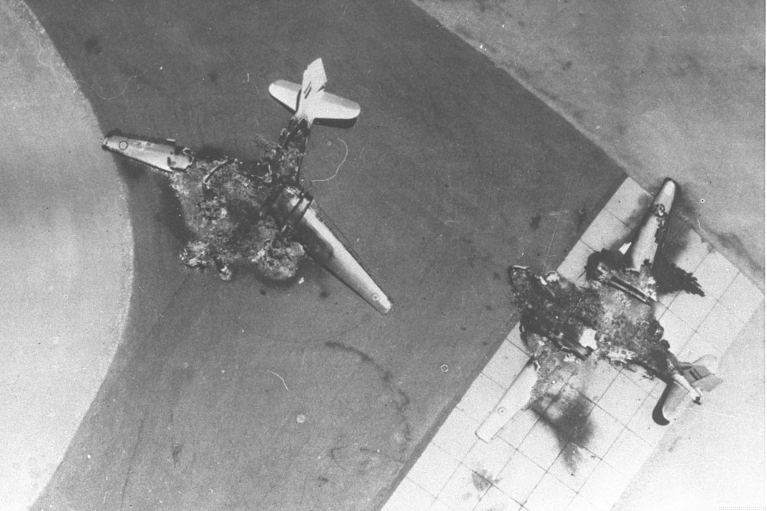 The Israeli Air Force destroyed enemy aircraft on the ground during the opening stages of the Six-Day War. (photo courtesy of Government Press Office, Israel)