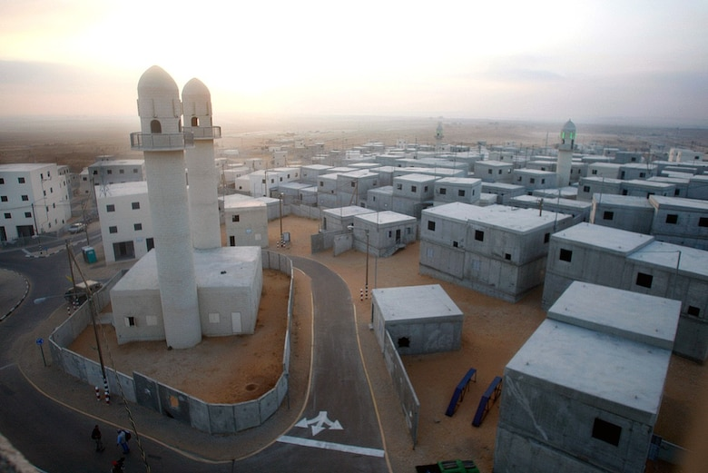 A view of a mock village set up by the Israeli army to conduct urban warfare exercises, at the urban warfare training center at Tze'elim military base in southern Israel.