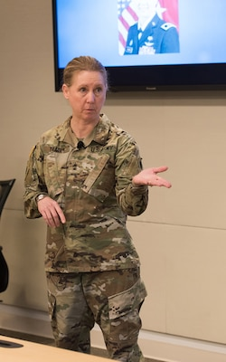 Major Gen. Laura Yeager shares some challenges she encountered in the military with Naval Surface Warfare Center Carderock Division employees