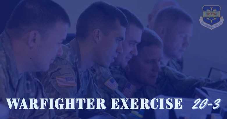 Graphic of U.S. Airmen working on computers during exercise with 505 CCW logo and title Warfighter Exercise 20-3.