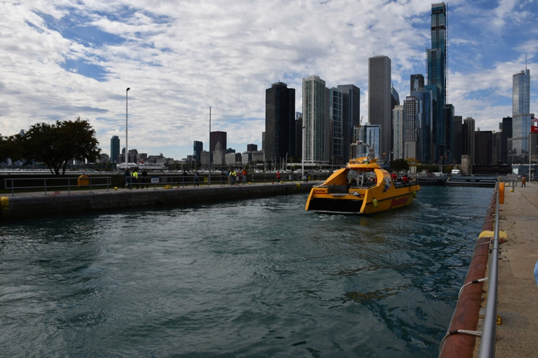 The Chicago Harbor Lock, located in Chicago and adjacent to Navy Pier, separates the waters of Lake Michigan from the Chicago River and is one of the busiest in the nation.