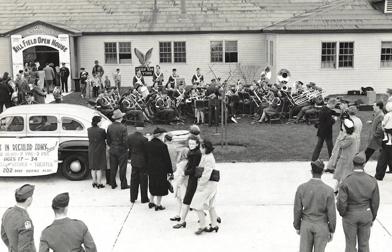Spectators admire a band playing on a lawn during an open house at Hill Air Force Base.