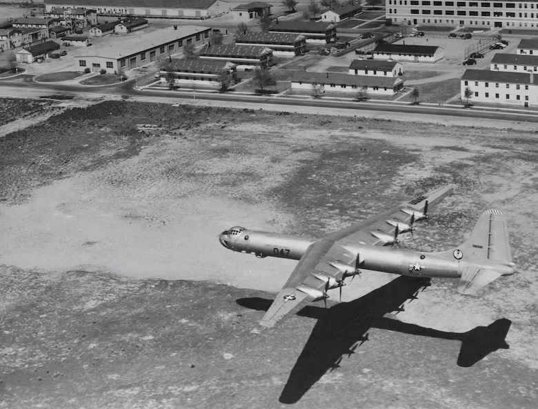 An aerial view of a B-36 flyby over Hill Air Force Base.