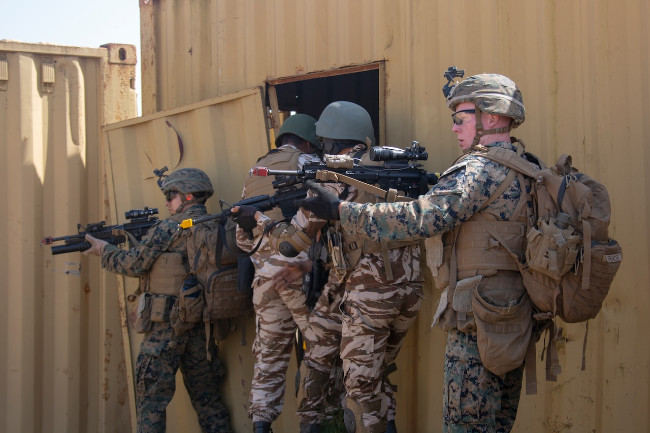 Marines, soldiers rehearse operations.