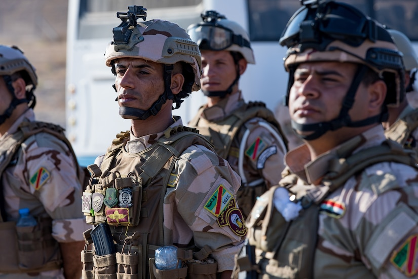 Iraqi forces stand in formation.