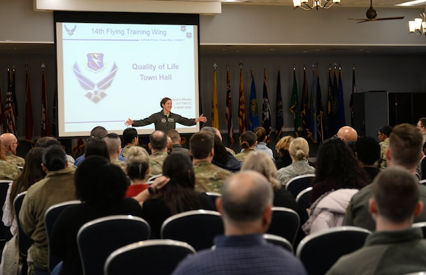 Col. Samantha Weeks, 14th Flying Training Wing commander, welcomes everyone to the Quality of Life Town Hall March 5, 2020, at the Columbus Club on Columbus Air Force Base, Miss. Weeks was the primary speaker for the town hall, which was also livestreamed on the Columbus AFB Facebook page for added participation and connection. (U.S. Air Force photo by Airman 1st Class Hannah Bean)