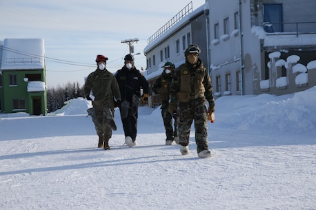 United States Marines and Sailors with Chemical Biological Incident Response Force (CBIRF) participate in cold weather training during Operation Arctic Eagle aboard Fort Wainewright, Ak. on Feb. 23, 2020. CBIRF conducted this training to practice responding in the extreme cold. (Official U.S. Marine Corps photo by Lance Cpl. Blakely Graham/Released)