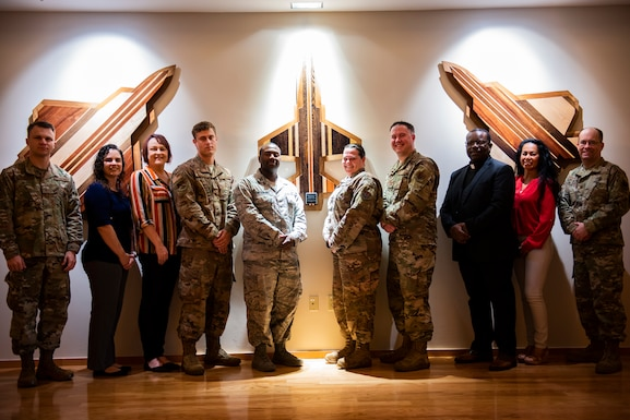 The 325th Fighter Wing religious affairs team poses for a photo at Tyndall Air Force Base, Florida, March 4, 2020. The team recently received the Air Combat Command Terence P. Finnegan Outstanding Medium Chapel Team Award. (U.S. Air Force photo by Staff Sgt. Magen M. Reeves)