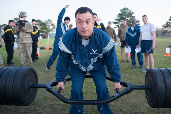 Staff Sgt. Juan Garcia, a member of the 203rd Ground Combat Training Squadron, participates in the new Army Combat Fitness Test during the Texas Military Department's 2020 Best Warrior Competition March 4, 2020, at Camp Swift, Texas.