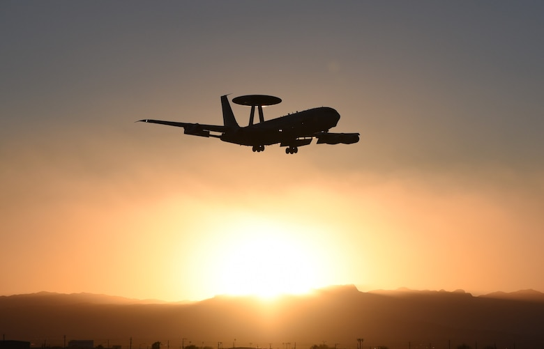 The E-3 Sentry Airborne Warning and Control System prepares for a mission in support of RED FLAG on Feb. 3, 2020 at Nellis Air Force Base, Nevada. While the AWACS belongs to the 552nd Air Control Wing at Tinker Air Force Base, the mission was supported by the 552nd Maintenance Squadron, 552nd Aircraft Maintenance Squadron, the 960th Airborne Air Control Squadron and the 72nd Security Forces Squadron (U.S. Air Force photo by 2nd Lt. Ashlyn K. Paulson).
