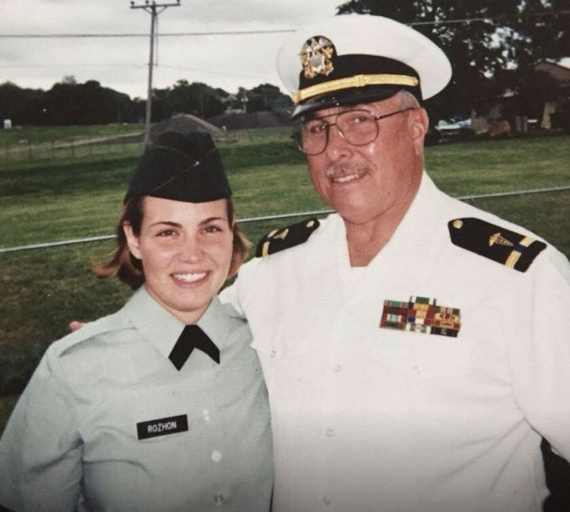 2nd Lt. Lori Rozhon with her father, Chief Warrant Officer 4 David Senf, a physician's assistant, on the day of her commissioning at Illinois State University in Normal, Ill. May 2000.  Rozhon, an agricultural engineering major, was a member of Illinois State University ROTC. (Contributed).