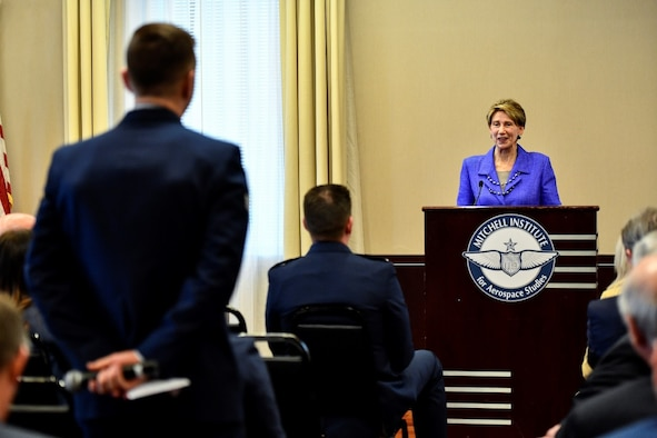 Air Force Secretary Barbara Barrett answers an Airman's question about joining U.S. Space Force during a forum, March 10, 2020, hosted by the Mitchell Institute think tank at the Reserve Officers Association Building, Washington, D.C. (U.S. Air Force photo by Eric Dietrich)