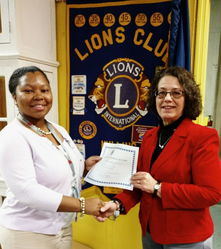 Marion County Director of S.C. Department of Juvenile Justice, Cynthia Ford, visits the Mullins Lions with a wealth of information about her department. She was presented a certificate of appreciation by Lion Vice President, Lisa Marlowe Elliott, Jan. 23, 2018.