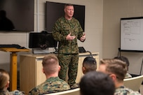 Master Gunnery Sgt. Scott H. Stalker speaks with 2nd Marine Aircraft Wing Intelligence Marines during his visit at Marine Corps Air Station Cherry Point, North Carolina, February 24, 2020. Stalker's visit was to inform Intel Marines about opportunities the Marine Corps offers as they progress in rank. Stalker is the first Marine to hold the Senior Enlisted Advisor position at Defense Intelligence Agency as well as National Security Agency and the United States Cyber Command. (U.S. Marine Corps photo by Cpl. Damaris Arias)
